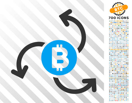 Bitcoin Source Swirl icon with 7 hundred bonus bitcoin mining and blockchain graphic icons. Vector illustration style is flat iconic symbols design for crypto currency apps.