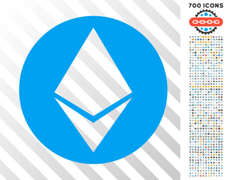 Ethereum icon with 7 hundred bonus bitcoin mining and blockchain design elements. Vector illustration style is flat iconic symbols design for cryptocurrency software.