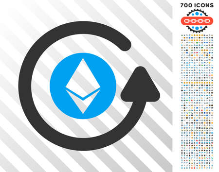 Ethereum Chargeback pictograph with 700 bonus bitcoin mining and blockchain pictograms. Vector illustration style is flat iconic symbols design for blockchain software.