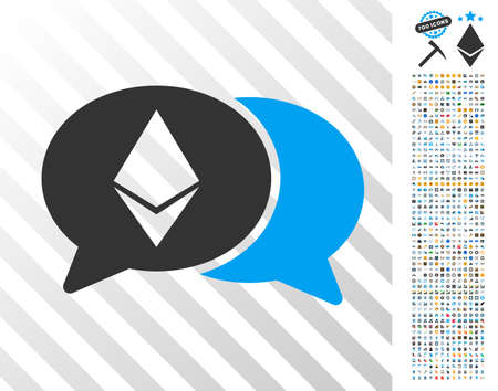 Ethereum Chat pictograph with 7 hundred bonus bitcoin mining and blockchain icons. Vector illustration style is flat iconic symbols design for bitcoin software. Ilustração