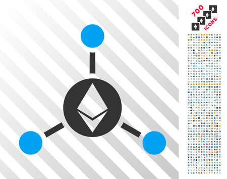 Ethereum Connections pictograph with 700 bonus bitcoin mining and blockchain design elements. Vector illustration style is flat iconic symbols design for crypto-currency software.