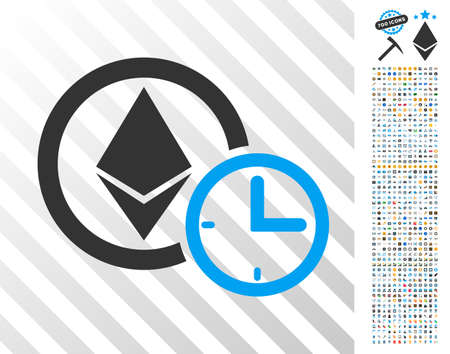 Ethereum Credit Clock pictograph with 700 bonus bitcoin mining and blockchain clip art. Vector illustration style is flat iconic symbols design for blockchain websites.