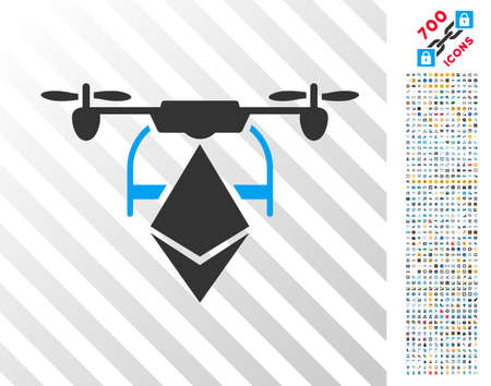 Ethereum Drone pictograph with 700 bonus bitcoin mining and blockchain symbols. Vector illustration style is flat iconic symbols design for blockchain apps.