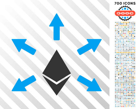 Ethereum Emission pictograph with 700 bonus bitcoin mining and blockchain graphic icons. Vector illustration style is flat iconic symbols design for bitcoin websites. Ilustração