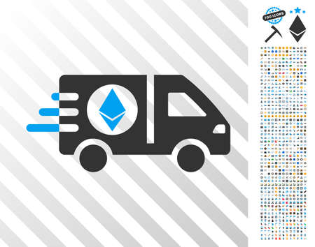 Ethereum Express Car icon with 7 hundred bonus bitcoin mining and blockchain symbols. Vector illustration style is flat iconic symbols design for crypto-currency websites.