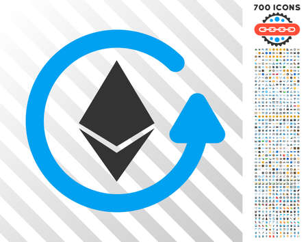 Ethereum Refund pictograph with 7 hundred bonus bitcoin mining and blockchain pictographs. Vector illustration style is flat iconic symbols design for crypto-currency apps.