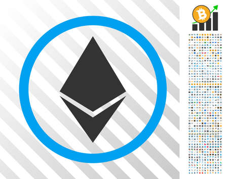 Ethereum Rounded pictograph with 700 bonus bitcoin mining and blockchain pictures. Vector illustration style is flat iconic symbols design for crypto-currency websites.
