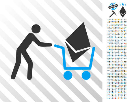 Ethereum Shopping Cart icon with 7 hundred bonus bitcoin mining and blockchain symbols. Vector illustration style is flat iconic symbols design for cryptocurrency software.