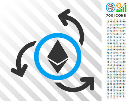 Ethereum Source Swirl pictograph with 700 bonus bitcoin mining and blockchain graphic icons. Vector illustration style is flat iconic symbols design for crypto currency apps.