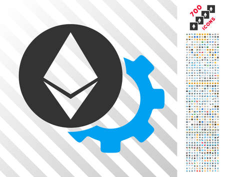 Ethereum Settings Gear icon with 7 hundred bonus bitcoin mining and blockchain graphic icons. Vector illustration style is flat iconic symbols design for cryptocurrency websites.