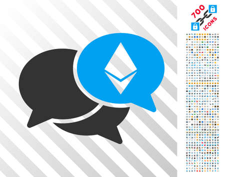 Ethereum Webinar Messages icon with 7 hundred bonus bitcoin mining and blockchain graphic icons. Vector illustration style is flat iconic symbols design for cryptocurrency apps.