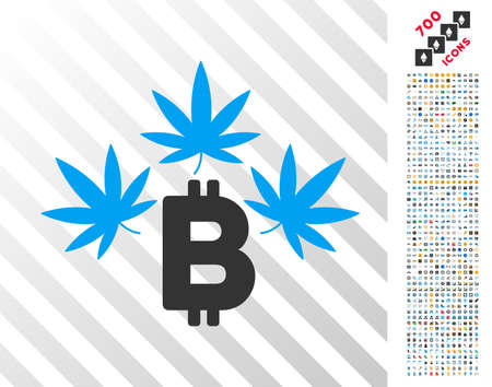 Marijuana Bitcoin Business Pictograph With 7 Hundred Bonus Bitcoin