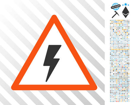 Electricity Shock Warning icon with 700 bonus bitcoin mining and blockchain design elements. Vector illustration style is flat iconic symbols design for crypto currency websites.