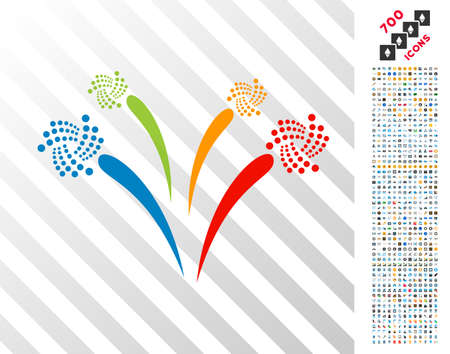 Iota Festive Fireworks icon with 700 bonus bitcoin mining and blockchain pictures. Vector illustration style is flat iconic symbols design for cryptocurrency software.
