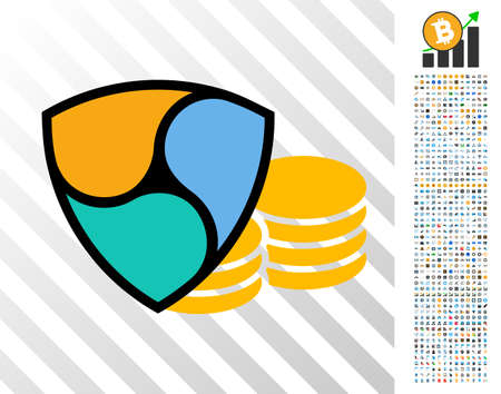 Nem Coins pictograph with 700 bonus bitcoin mining and blockchain clip art. Vector illustration style is flat iconic symbols design for bitcoin apps. Ilustracja