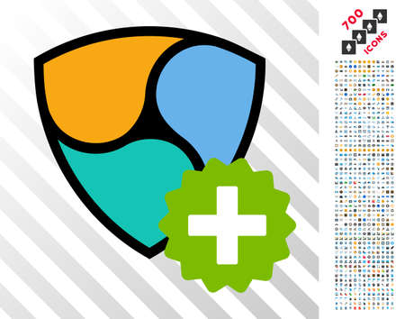 Nem Create pictograph with 700 bonus bitcoin mining and blockchain symbols. Vector illustration style is flat iconic symbols design for crypto currency websites.