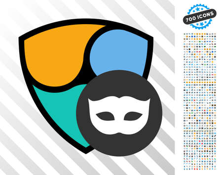 Nem Privacy Mask icon with 7 hundred bonus bitcoin mining and blockchain icons. Vector illustration style is flat iconic symbols design for crypto currency apps. Illustration