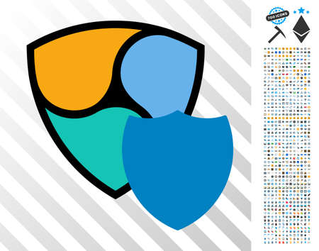 Nem Shield pictograph with 7 hundred bonus bitcoin mining and blockchain pictographs. Vector illustration style is flat iconic symbols design for crypto-currency apps. Illustration