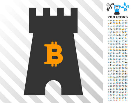 Bitcoin Castle Tower pictograph with 700 bonus bitcoin mining and blockchain design elements. Vector illustration style is flat iconic symbols design for crypto currency websites.