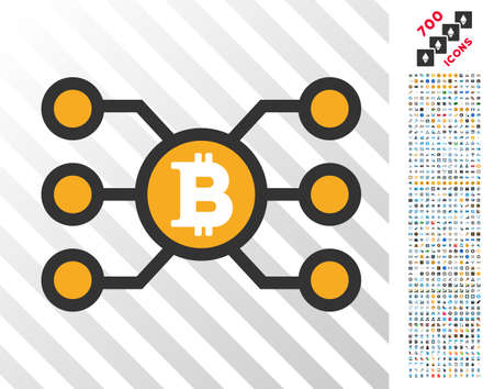 Bitcoin Node Links pictograph with 7 hundred bonus bitcoin mining and blockchain images. Vector illustration style is flat iconic symbols design for cryptocurrency websites. Illustration
