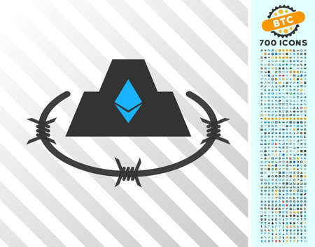 Ethereum Barbwire Citadel pictograph with 700 bonus bitcoin mining and blockchain images. Vector illustration style is flat iconic symbols design for blockchain websites.