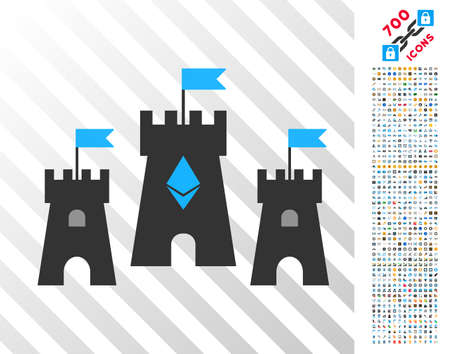 Ethereum Castle pictograph with 700 bonus bitcoin mining and blockchain icons. Vector illustration style is flat iconic symbols design for bitcoin software.