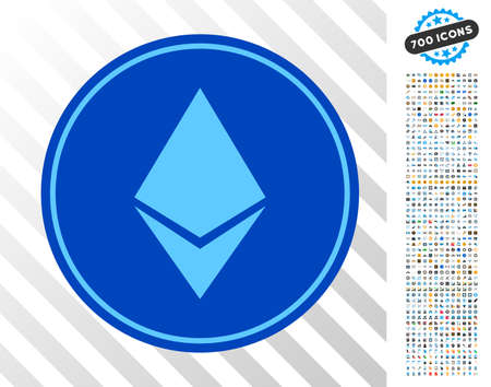 Ethereum Coin icon with 7 hundred bonus bitcoin mining and blockchain symbols. Vector illustration style is flat iconic symbols design for bitcoin websites.