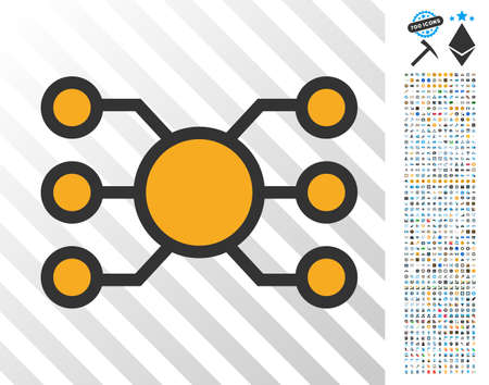 Node Links pictograph with 7 hundred bonus bitcoin mining and blockchain symbols. Vector illustration style is flat iconic symbols design for crypto-currency apps.