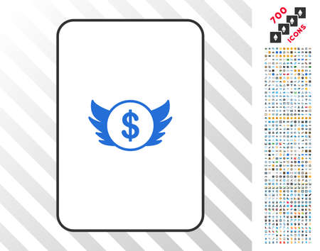 Angel Investment playing card pictogram with 7 hundred bonus bitcoin mining and blockchain clip art. Flat vector style for gambling and cryptocurrency websites.