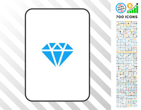 Brilliant playing card pictograph with 700 bonus bitcoin mining and blockchain design elements. Flat vector style for gambling and crypto-currency apps.