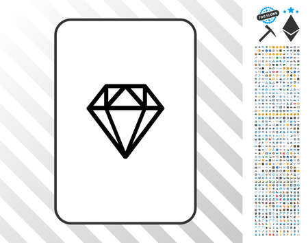 Diamond playing card pictogram with 7 hundred bonus bitcoin mining and blockchain pictograms. Flat vector style for gambling and crypto-currency software.