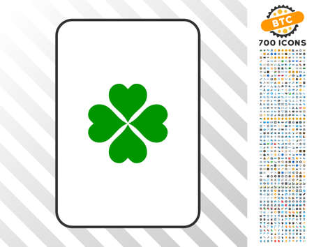 Lucky Clover playing card pictogram with 700 bonus bitcoin mining and blockchain pictograms. Flat vector style for gambling and crypto-currency software.