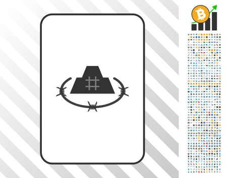 Prison Citadel playing card icon with 7 hundred bonus bitcoin mining and blockchain symbols. Flat vector style for gambling and crypto currency software.
