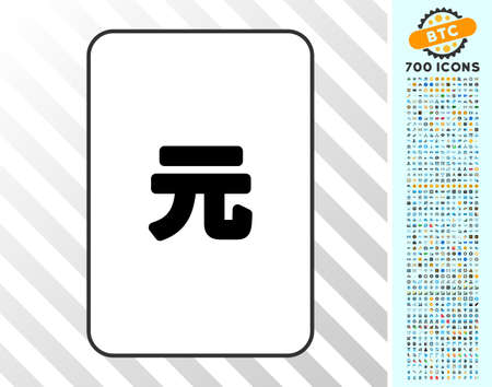 Yuan Renminbi playing card icon with 700 bonus bitcoin mining and blockchain icons. Flat vector style for gambling and cryptocurrency apps.