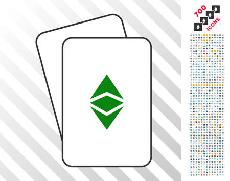 Ethereum Classic playing cards pictogram with 700 bonus bitcoin mining and blockchain design elements. Flat vector icons for gambling and blockchain apps.