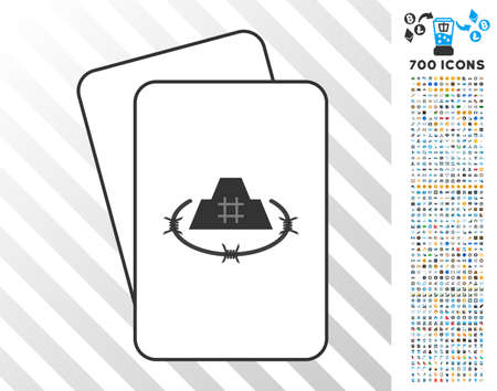 Prison Fortress playing cards icon with 700 bonus bitcoin mining and blockchain clip art. Flat vector symbols for gambling and cryptocurrency websites. Illustration