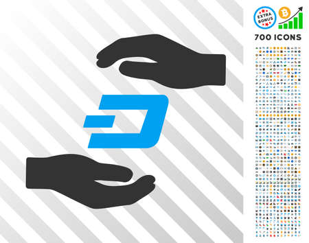 Dash Care Hands pictograph with 700 bonus bitcoin mining and blockchain design elements. Vector illustration style is flat iconic symbols designed for cryptocurrency websites.