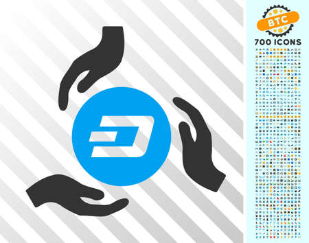 Dash Coin Care Hands icon with 700 bonus bitcoin mining and blockchain graphic icons. Vector illustration style is flat iconic symbols designed for crypto currency apps. Illustration