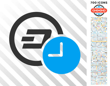 Dash Credit Time icon with 7 hundred bonus bitcoin mining and blockchain symbols. Vector illustration style is flat iconic symbols designed for bitcoin software. Illustration