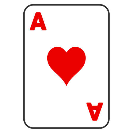 Hearts Ace Playing Card vector icon. Style is flat graphic symbol.