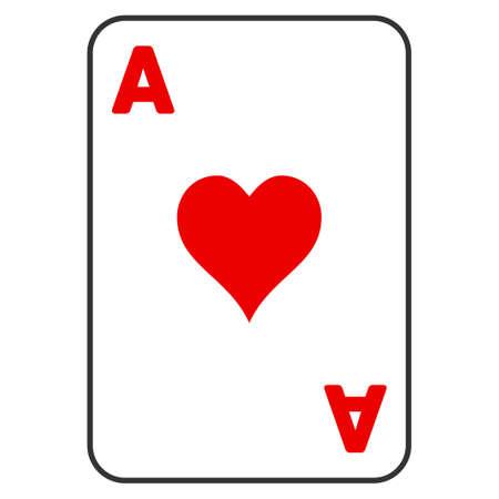 Icona di vettore di cuori Ace Playing Card. Lo stile è un simbolo grafico piatto.