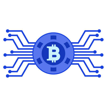 Bitcoin Electronic Casino raster icon. Style is flat graphic symbol.
