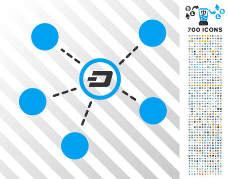 Dash Connections pictograph with 700 bonus bitcoin mining and blockchain pictograms. Vector illustration style is flat iconic symbols designed for cryptocurrency software.