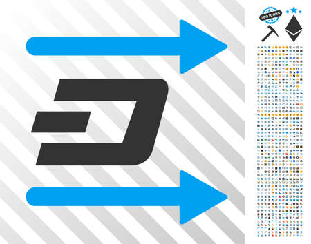 Dash Send Arrows pictograph with 700 bonus bitcoin mining and blockchain icons. Vector illustration style is flat iconic symbols designed for crypto-currency software. Illustration