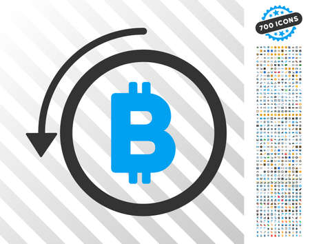 Undo Bitcoin Payment pictograph with 7 hundred bonus bitcoin mining and blockchain clip art. Vector illustration style is flat iconic symbols designed for cryptocurrency apps. Illustration