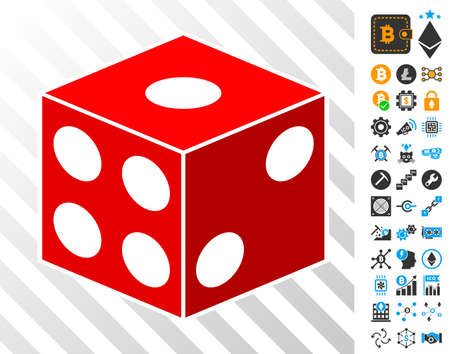 Dice Cube playing cards pictograph with additional bitcoin mining and blockchain pictograms. Flat vector style for crypto-currency apps.