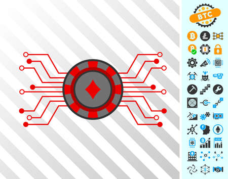Digital Casino Chip playing cards pictogram with bonus bitcoin mining and blockchain design elements. Flat vector graphics for blockchain apps. Illustration