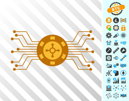 Electronic Roulette playing cards icon with additional bitcoin mining and blockchain symbols. Flat vector pictograms for bitcoin apps.