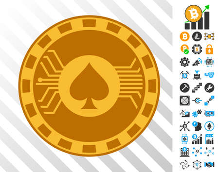 Electronic Casino Chip playing cards icon with additional bitcoin mining and blockchain pictures. Flat vector ui elements for blockchain toolbars.