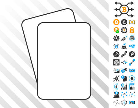 Blank Playing Cards playing cards pictograph with additional bitcoin mining and blockchain pictographs. Flat vector elements for cryptocurrency toolbars.